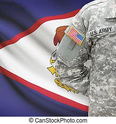 americano, soldato, con, bandiera, su, fondo, -, americano,...