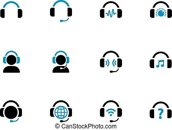 Headphone duotone icons on white background. Vector...