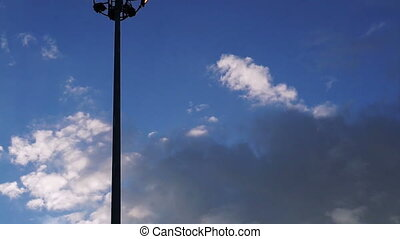 lights pole with blue sky - Video of Stadium, parking lights...