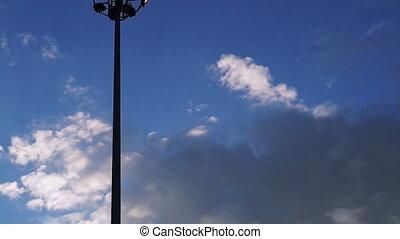 lights pole with blue sky