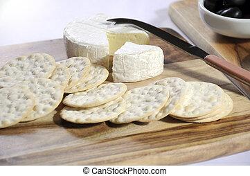 queijo, placas, camembert, madeira, cima, água, toalha de...
