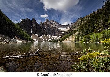 Lake Agnes - Devils Thumb over Lake Agnes
