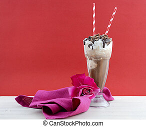 Iced coffee drink in classic soda pop glasses. - Iced coffee...