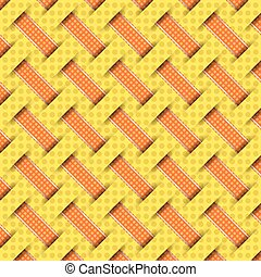 braided weave pattern, yellow background vector
