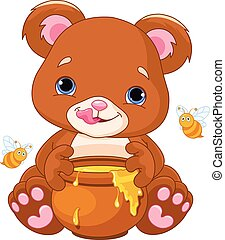 Bear Holds Honey Jar - Illustration of cute bear preparing...