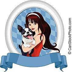 Girl with Boston Terrier - Illustration of girl holds Boston...