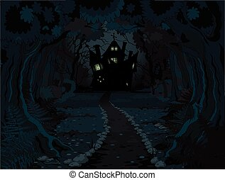 Halloween Forest - Illustration of spooky haunted house on...