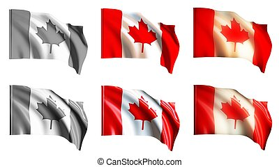 canada flags waving set front view