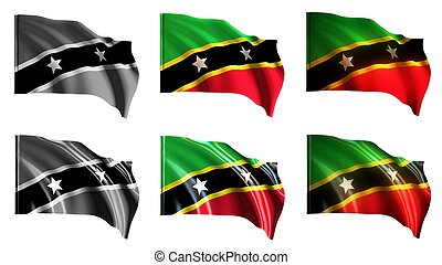 st kitts & nevis flags waving set front view
