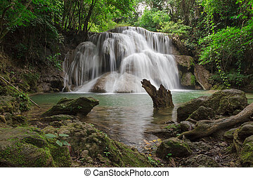 The Huai Mae Kamin waterfall at Kanchanaburi,Thailand