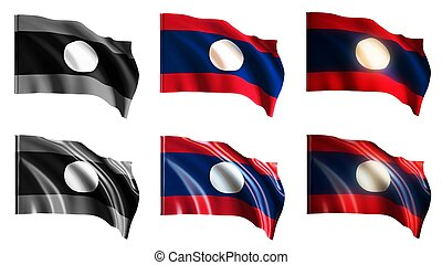 laos  flags waving set front view
