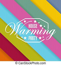 house warming party color card background sign illustration...