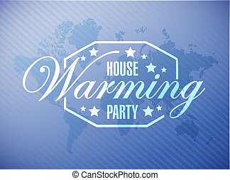 house warming party blue map background sign illustration...