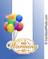 house warming party balloons card background sign...