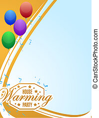 house warming party balloons background sign card - house...