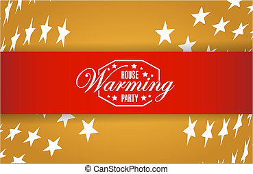 house warming party stars background sign illustration...