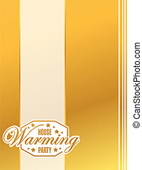 house warming party gold card background sign illustration...