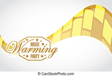 house warming party gold wave background sign illustration...