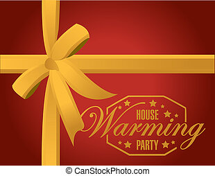 house warming party gold ribbon background sign illustration...
