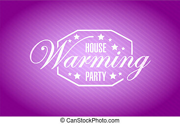 house warming party purple background sign illustration...