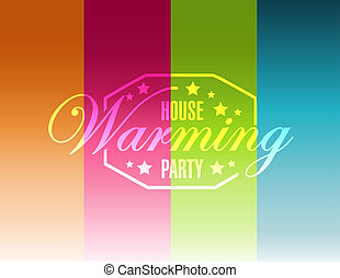 house warming party color lines background sign illustration...