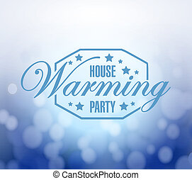 house warming party bokeh background sign illustration...
