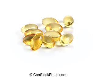 Cod liver oil omega 3 gel capsules isolated on white...