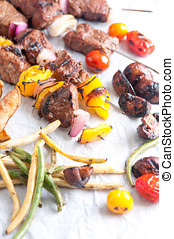 beef and vegetable shish kabobs - fresh grilled beef with...