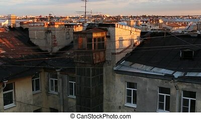 Old roof Views on the rooftops in Saint-Petersburg Russia