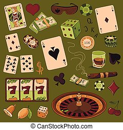 Hand drawn Casino icons set with a hand of aces playing...