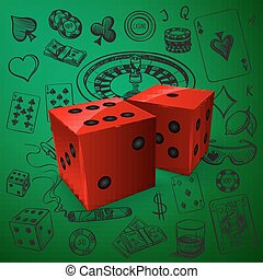 Hand drawn Casino icons set with dice game and with a hand...