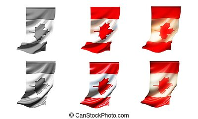 canada flags waving set 6 in 1 vertical styles