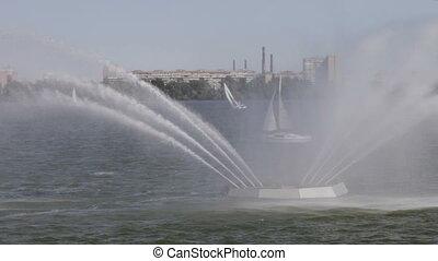 Fountain river - Swan Fountain river Dnepr near...