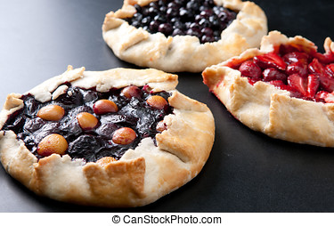 homemade galettes - rustic home made galettes, pastries with...