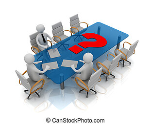 3d people - man, person at conference table and question mark
