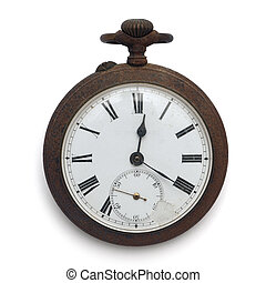 old pocket watch (isolated with clipping path)