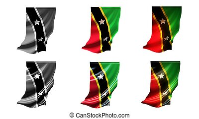 st kitts & nevis flags waving set 6 in 1 vertical styles