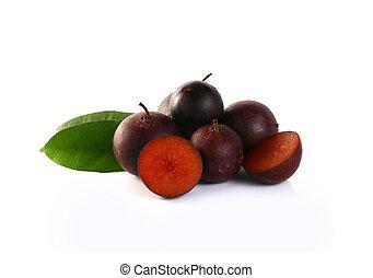 Flacourtia fruit on white background (Ramontchi)