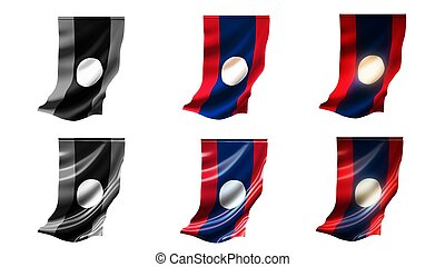 laos  flags waving set 6 in 1 vertical styles