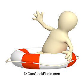 Victim puppet in a lifebuoy