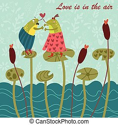 Happy Valentines Day card. Vector illustration.
