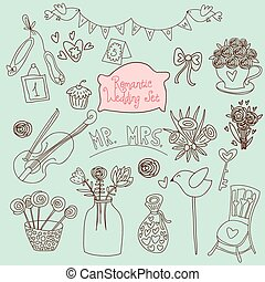 Cute wedding vector set. Couple of lovers, bow-tie, candies, bouquet, dove, cakes, cocktail and other romantic elements for stylish designs and wedding invitations