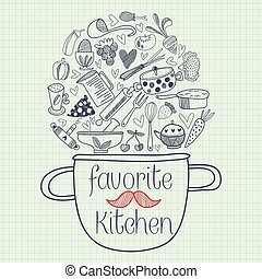 Favorite kitchen card design. Funny vector illustration