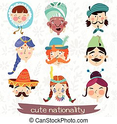 Nine nationalities: Eskimo, African, French,Mexican, German...