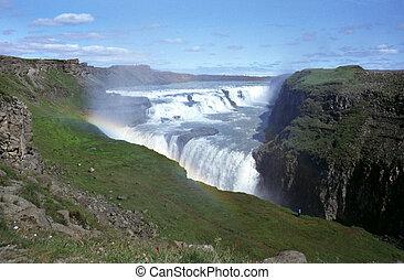 Waterfall Gullfoss - The Gullfoss waterfall in river Hvita,...
