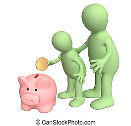 Family - Adult and child together lowering coin in piggy...