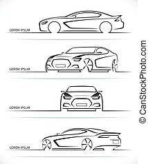 Set of vector sports car silhouettes - Set of sports car...