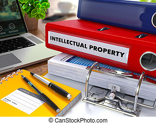 Red Ring Binder with Inscription Intellectual Property - Red...