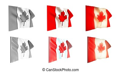 canada flags waving set 6 in 1 athwart styles - canada flags...