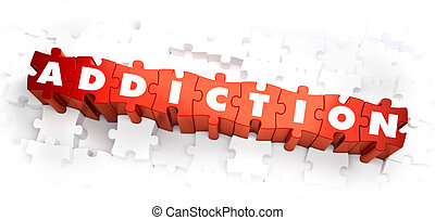 Addiction - White Word on Red Puzzles.